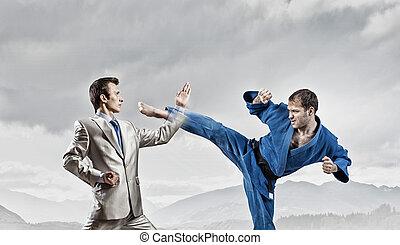 Karate man in blue kimino