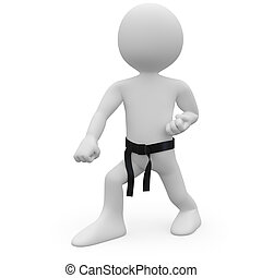 Karate man in combat position. Image of an isolated white...