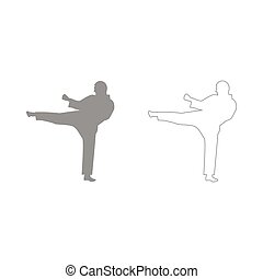 Karate man set icon .