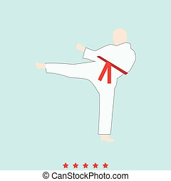 Karate man set it is color icon .
