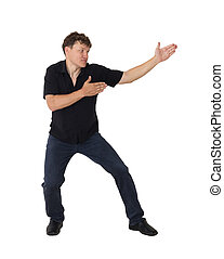Karate man shows on a white background