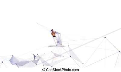 Karate man with a abstract line. White background