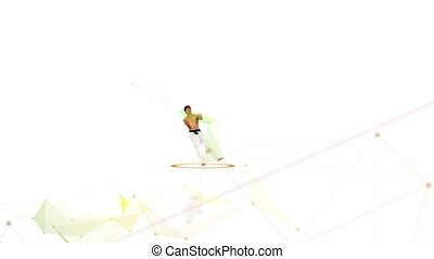 Karate man with a fier train. White background.