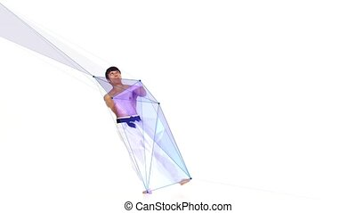 Karate man with a geometry line. White background