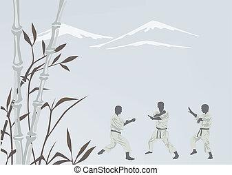 karate, mannen, verloofd, drie