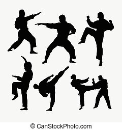 Karate martial art fighter sport silhouette