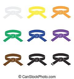 karate martial arts color belts icons set eps10