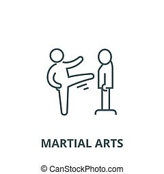 Karate, martial arts, kung fu, tae kwon do vector line icon, linear concept, outline sign, symbol