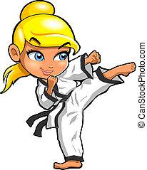 Karate martial arts tae kwon do dojo vector clipart cartoon Girl Kick