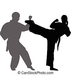 Karate match silhouettes - vector