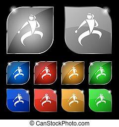 karate, megrúg, ikon, cégtábla., állhatatos, közül, tíz, színes, gombok, noha, glare., vektor