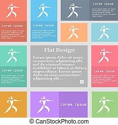 karate, megrúg, ikon, cégtábla., állhatatos, közül, többszínű, gombok, noha, hely, helyett, text., vektor