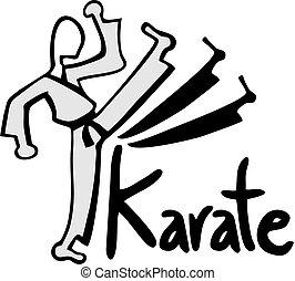 karate, megrúg, illustraiton