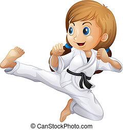 karate, niña, joven