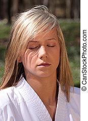 karate, niña, -, meditación