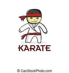 karate, niño, caricatura
