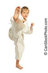 karate, niño, patada, un, pierna