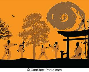 karate, ondergaande zon
