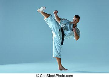 karate, opleiding, kimono, witte , man