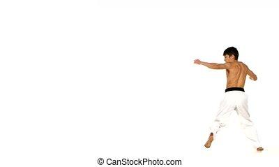 Karate or taekwondo makes a somersault through itself -...