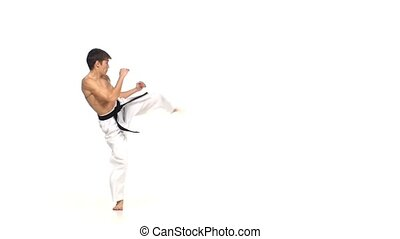 Karate or taekwondo makes several hops around you. Slow...