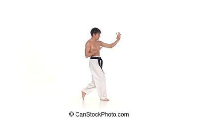 Karate or taekwondo performs tricks  Isolated on white. Slow motion