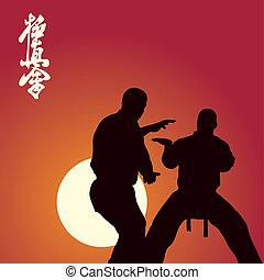 karate, otra vez, hombres, ocupado, dos