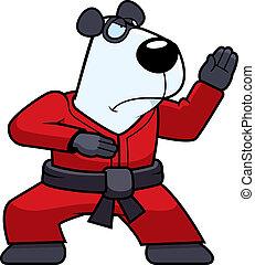 A cartoon panda doing karate in a gi.