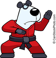 Karate Panda - A cartoon panda doing karate in a gi.