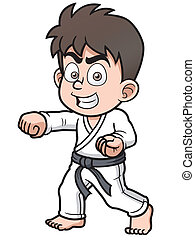 Karate Player - Vector illustration of Boy Karate Player