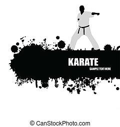 karate, poster, grunge
