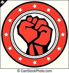 Karate power fist emblem. Martial art colored simbol design. Vector, EPS.