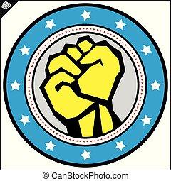 Karate power fist emblem. Vector, EPS.