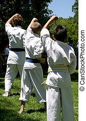 Karate Practice - Three boys practicing Karate.
