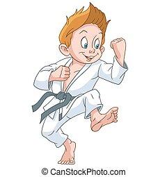 karate, ragazzo, cartone animato