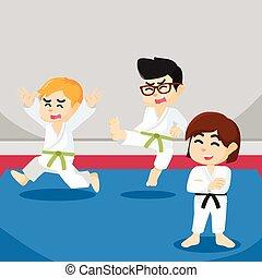 karate, ragazzo, spaventato, quando, fiammifero