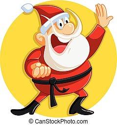 Karate Santa Claus Ready for Christmas Vector Cartoon -...