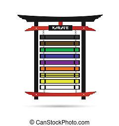 karate, scaffale, cintura
