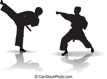 Karate Silhouette - Black vector illustration of karate...