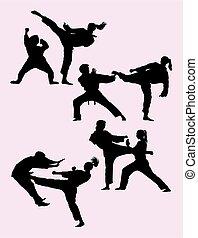 karate, silhouette, paar, 01., het uitoefenen