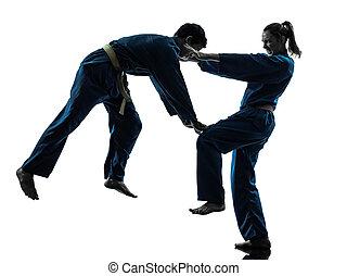 karate, silhouette, vietvodao, künste, kriegerisch, mann- frau, paar