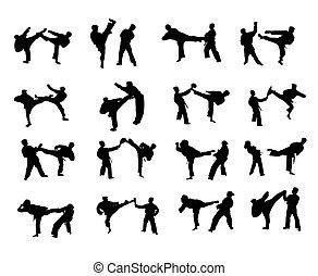 karate, silhouetten, freigestellt, kämpfen