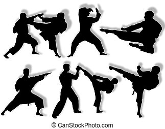 Karate silhouettes - Men silhouette in different karate...
