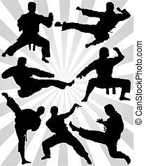 karate, silhouettes