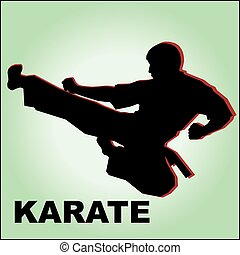 karate, simbol, marcial, design., coloreado, arte, emblem.