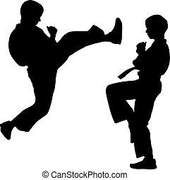 karate., sport, czarnoskóry, sylwetka, wektor, illustration.
