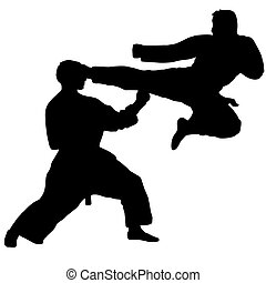 Karate. Sport. jump kick in karate sparing Isolated