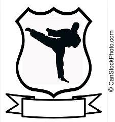 karate, sportende, schild