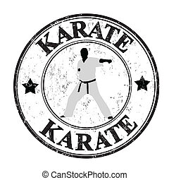 Karate stamp - Abstract grunge rubber stamp with man...