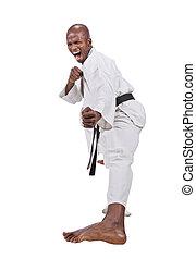 karate - african american man in karate suit, screaming
